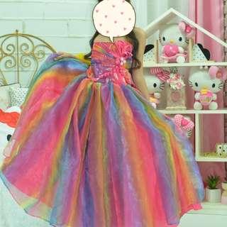 Custom Made Rainbow Ball Gown, Rainbow Unicorn Costume