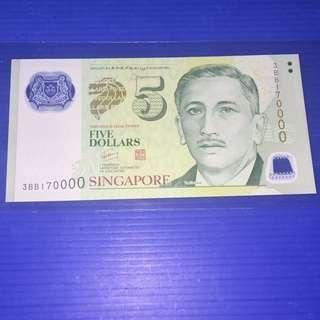 Singapore Portrait $5 No.170000 UNC