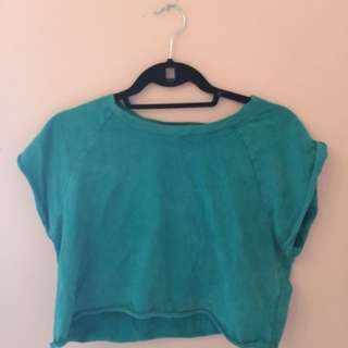 Turquoise cropped tee