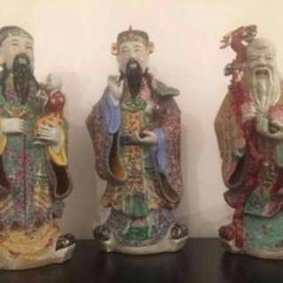 Fu Lu Shou Statue Antique Hokkien Huay Kwan