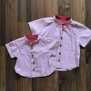 Preloved Chateau de sable mandarin collar shirts 6mo and 24mo