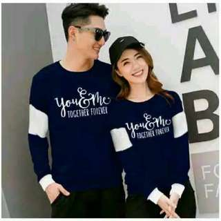 Kode : kaos couple / baju couple / sweater lengan panjang murah forever navy