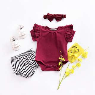 ✔️STOCK - CNY MAROON RED RUFFLED NEWBORN BABY TODDLER GIRL STRETCHY COTTON ROMPER KIDS CHILDREN CLOTHING