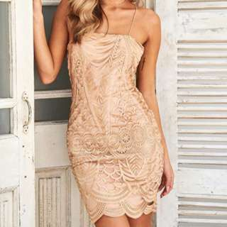 Sherie Strap Embroidered Dress Bronze Size S