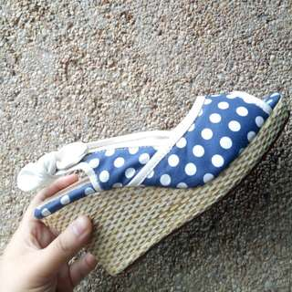 Blue Polca Wedge Sandals