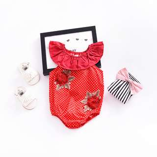 ✔️STOCK - CNY RED POLKA FLORAL EMBROIDERY NEWBORN BABY TODDLER GIRL ROMPER KIDS CHILDREN CLOTHING
