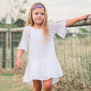 ✔️STOCK - WHITE CROCHET LACE FLARE SUN DRESS BABY TODDLER GIRL KIDS CHILDREN CLOTHING