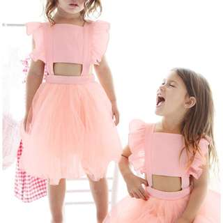 ✔️STOCK - PASTEL PINK SEXY H TOP TULLE FROCK DRESS BABY TODDLER GIRL KIDS CHILDREN CLOTHING