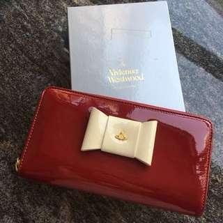 全新 Vivienne Westwood 白色蝴蝶蘭紅底 女裝長銀包 多卡位 有瑕疵