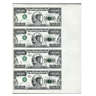 USA 1 MILLION UNCUT funcy note in SHEET unc