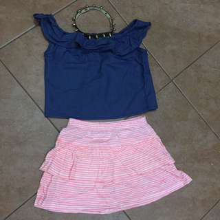 Soft denim top & flair skirt