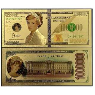 USA 1 MILLION  DIANA PRINCESS COLORFUL 24K GOLD FUNCY NOTE