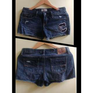 Patched Denim Short