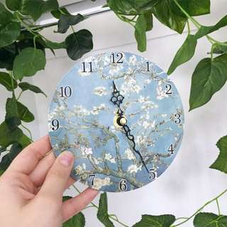 Small Van Gogh Cherry Blossom Clock with Stand