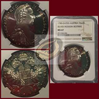 1780-Dated Austria - Taler Modern Strike - NGC MS67
