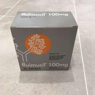 Fluimucil 100mg for kids children orange flavour zambon 30 sachets