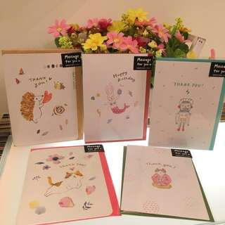 Greeting Cards Happy Birthday Thank You Farewell Wishes Friend Colleague Greetings Friendship Artwork Cat Bunny Robot Hedgehog