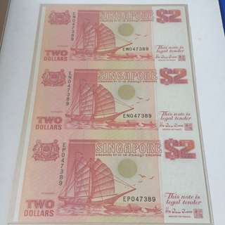 Singapore Ship Series 3 in 1 uncut $2