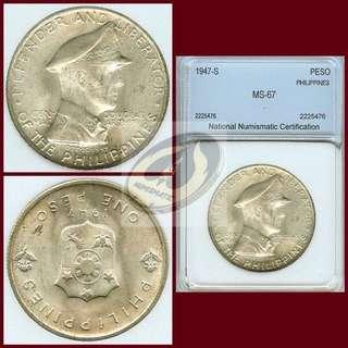 1947 Philippines - Gen. Douglas MacArthur Peso - NNC MS66/67