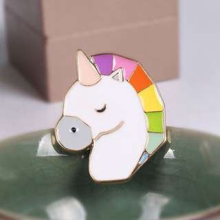 (INSTOCK) Rainbow Unicorn Head Enamel Pin