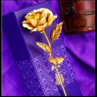 24K Gold Plated Rose In Single Stalk (With Box and Paper Bag) - Valentines Flower
