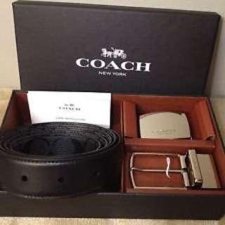Coach 禮盒套裝雙面雙扣皮帶