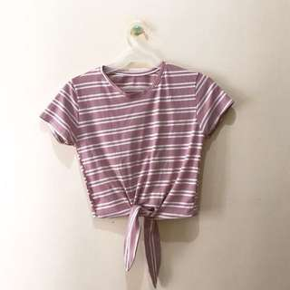 Pink and White Striped Knot Top