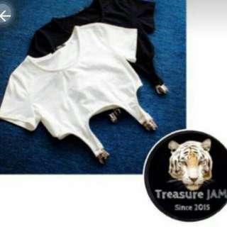 短版黑色夾式上衣 現貨 可換物