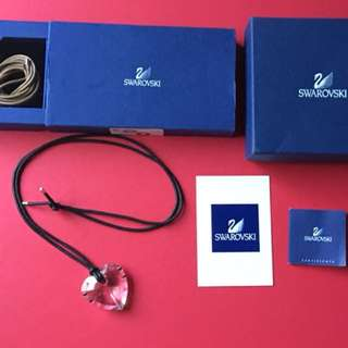 Genuine Swarovski Crystal Heart Leather Cord Necklace