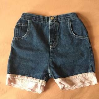 PL denim shorts with light pink lace hem (up to 2 yrs old)
