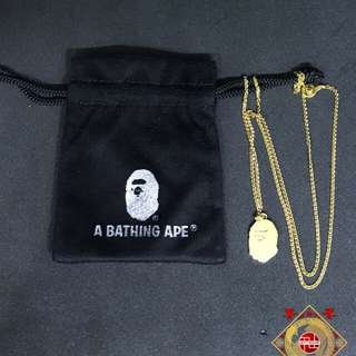 "A Bathing Ape ""Ape Head"" Gold Plated Necklace"