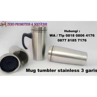 Jual Souvenir Mug tumbler stainless 3 garis