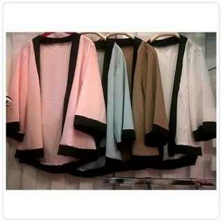 Kimono polos warna hitam mix abu2