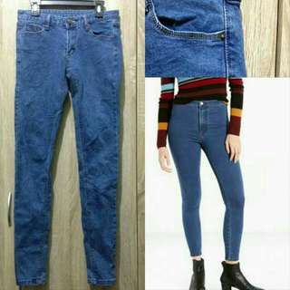Skinny Blue Jeans Stradivarius Look A Like / Highwaist High Waist / Denim / Boyfriend / Momjeans / Mom Jeans / Ripped