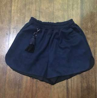 Navy Blue tassled shorts