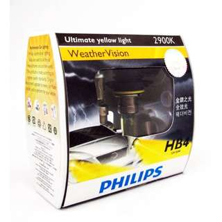 Philips Weather Vision Halogen Headlamp HB4 12V 55W 9006WVS2 Ultimate Yellow Light 2900K (Pair)