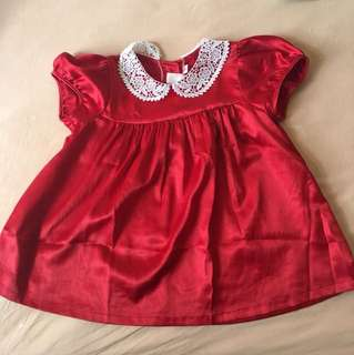 as gd as new satin red dress for up to 2 yrs old