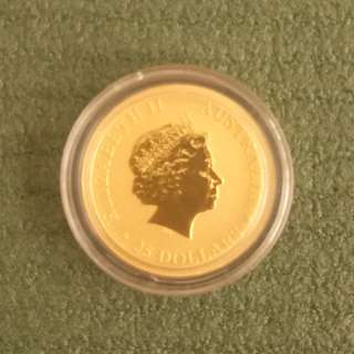 2013 Perth Mint 9.999 pure Gold kangaroo coin 1/4 oz in capsule