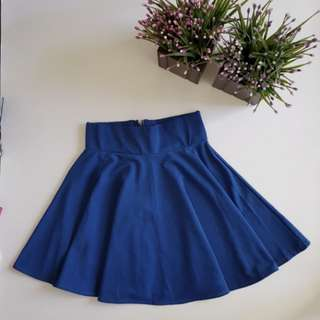 Blue zippered skater skirt