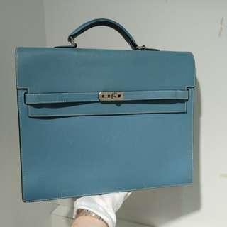 Hermes briefcase 34 blue jeans epsom