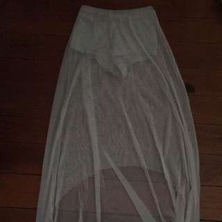 Sheer Skirt with Silver Shimmer hot pants