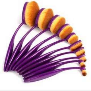 10 pieve purple oval makeup brush set