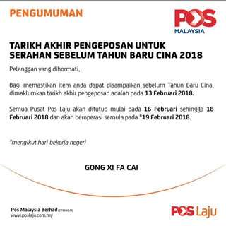 CNY Post Laju Notice