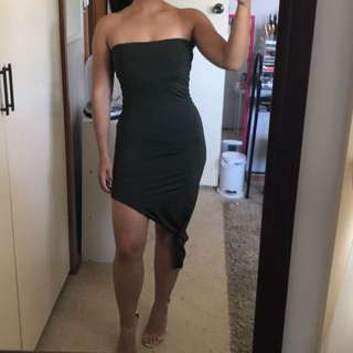 Khaki boob tube dress