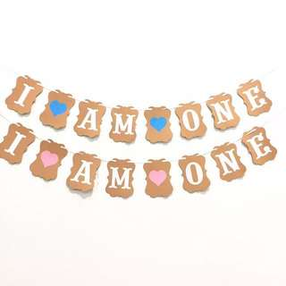 Brand New!I AM ONE banner/ bunting for baby 1st birthday