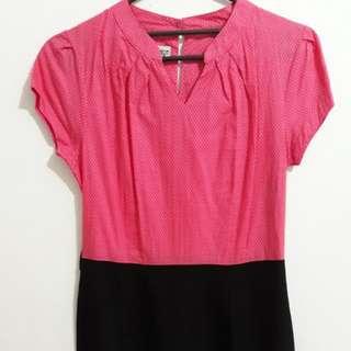 dress pink hitam