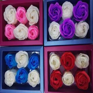 6 Pieces Soap Flower Roses in a Box Valentines Gift Idea