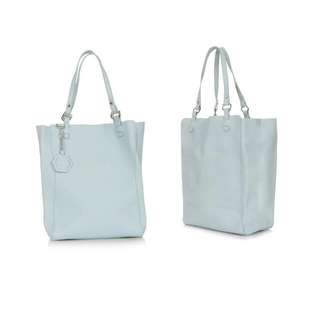 Topshop Leather Tote Bag In Baby Blue