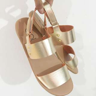 Gold strap sandals size 39