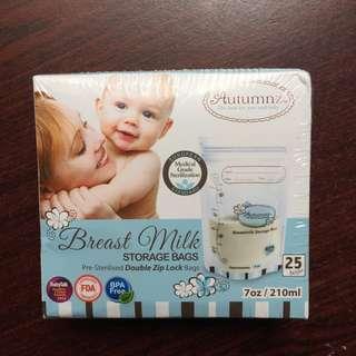Autumnz Double Zip Lock Breast Milk Storage Plastic (1 box 25 pcs)